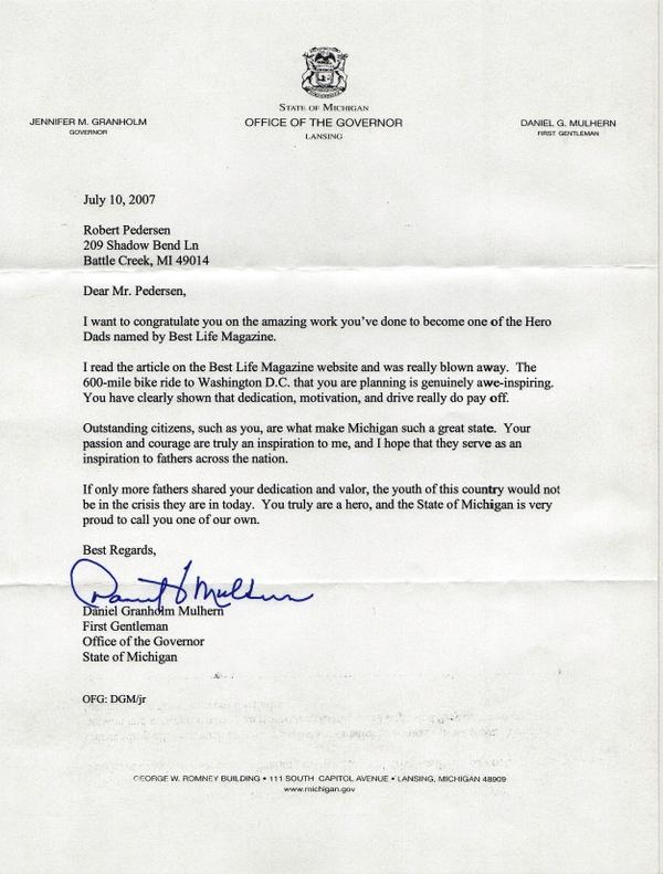DaddyBlogger.com: Robert Pedersen Receives Letter of ...